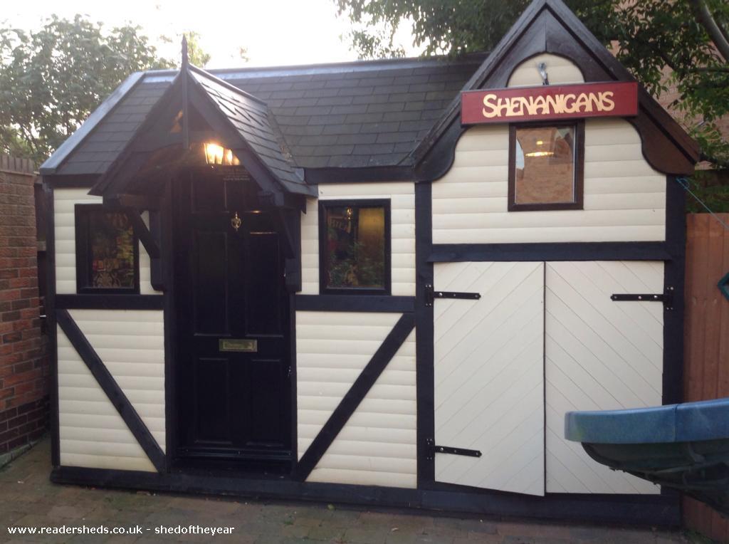 Shenanigans peter roberts garden for Garden shed pub